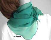 Teal Emerald Small Neck Scarf Sheer Silk Chiffon Ponytail Hair Scarf, Sapphire Blue Girl Scarf, White Hat Ribbon, Black Headband, Artinsilk.