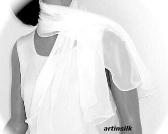 Pure White Scarf, Optic White Small Shoulder Wrap, Bridal Wedding Shawl, Flower Girl, Petite S XS, Pure Silk Chiffon, Artinsilk.