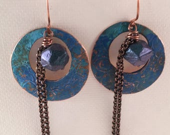 Powder Blue Patina Textured Copper Earrings with Chain and Czech Glass Bead Accent
