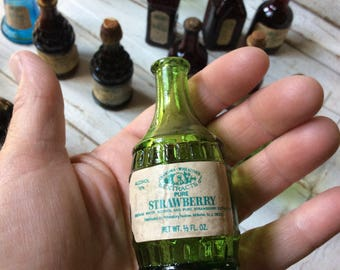 "Green Wheaton Miniature Root Bitters Bottle ""Grandma Wheaton's Pure Strawberry Extract"" Original Label"