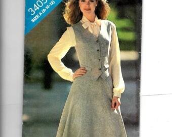 Butterick Misses' Vest and Skirt Pattern 3405