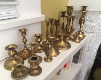 Lot of 27 Brass Candle Holders / Mismatched / Wedding / Mantle / Centerpiece / INSTANT Collection