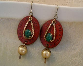 Bread Line - Vintage Gold Filled Scarab Links World War II British Bread Tokens Pearls Recycled Repurposed Jewelry Earrings