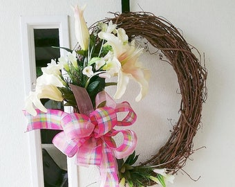 Easter Lily Wreath, Lily spring wreath, spring door wreath, front door wreath, welcome spring wreath, front door decor, easter wall decor