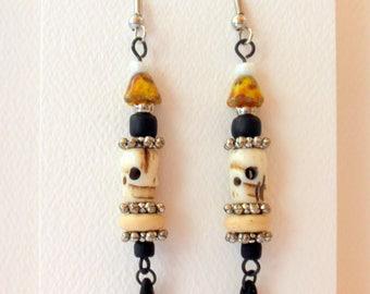 Earrings Dangle Earrings Skull and Flower Earrings #008