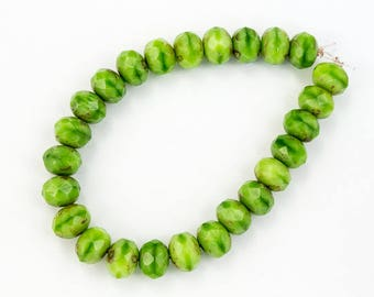 5mm x 7mm Spring Green Picasso Faceted Rondelle (25 Pcs) #GFD214