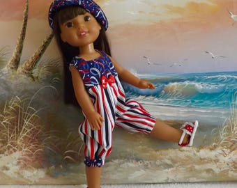 """14 and 14.5"""" Doll USA Patriotic Colors Rompers With Reversible Hat Fits Dolls like H4H and Wellie Wishers"""