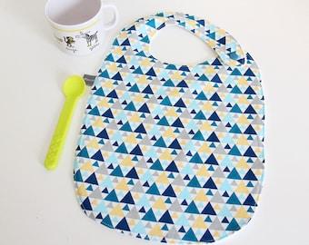 Baby bib - triangles - blue - yellow - gray - white - graphic - bamboo - baby gift - baby shower - baby meal - baby - birthday