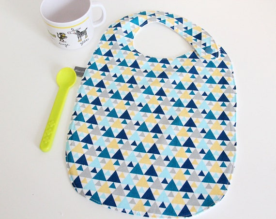 Baby bib - triangles - blue - yellow - gray - white - graphic - bamboo - baby gift - baby shower - baby meal - baby - birthday