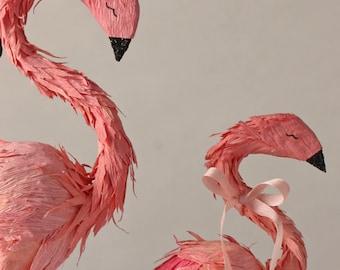 custom order - single flamingo cake topper - with baby