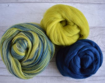 Merino Wool Roving Pack - Blended Wool Roving - Mixed Pack - Olive Green - Navy Blue - Wool for Spinning - Wool for Felting - Fibres