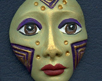 Polymer Clay One of a Kind  Spirit Doll  Green and purple  Detailed Face Cab Un Drilled SF 3