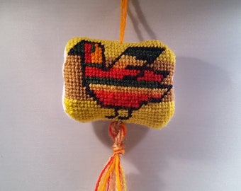 Frito Pollito Needlepoint Pincushion Ornament