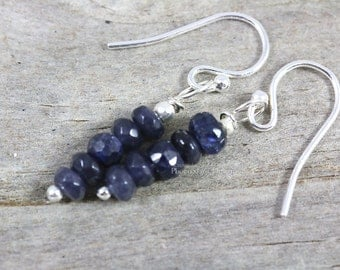 Blue Sapphire Earrings, Dangle Earrings, Sterling Silver Earring, Precious Gemstone Jewelry, Christmas Gift For Her Stocking Stuffer, RTS