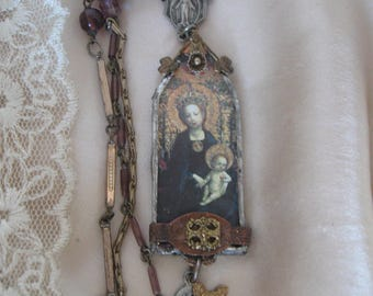 Reserved, Canticle, Madonna and Child, repurposed vintage, antique, rosary necklace, upcycled, art to wear, religious, cross, soldered