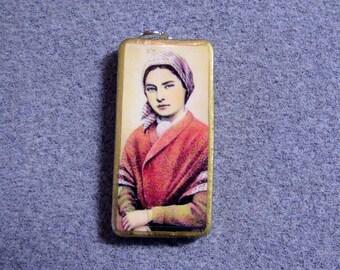 St. Bernadette Soubirous Lourdes Catholic Art Recycled Domino Pendant Necklace BS5