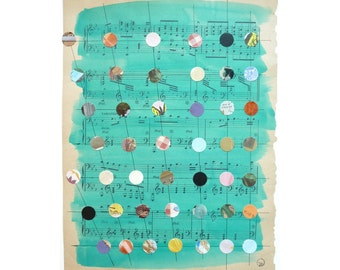 Mixed Media Art,Multicolored Dots, Dot Grid, Turquoise, Pattern, Dot Pattern, Antique Sheet Music, Painted Piano Music, Teacher Gift