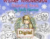 Printable Digital Download - Whimsical Winter Wonderland Coloring  Book by Molly Harrison - Cute Angels, Polar Bears, and More!