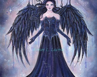 Spiritual  angel ethereal  fantasy art dark gothic darkness to light print by Renee  Lavoie