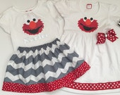ELMO dress and or outfit--- elmo party or everyday wear dress and or personalized outfit ..Sesame street inspired