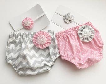 DIAPER COVERS and HEADBANDS - pink and or grey...New baby -- baby girls clothing