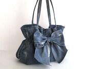 jean purse , recycled denim bow bag , blue handbag , Fabric bag , Vegan , Top handle bag , Bow purse , Upcycled clothing , girls fashion bag