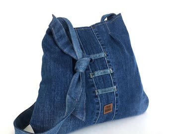 Jean cross body bag , Recycled hobo bag ,Blue denim purse ,school bag ,Denim purse ,College bag,Jean purse,Shop Canada,Vegan shoulder bag