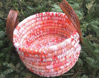 CORAL SHORE  textile art Bucket BASKET storage