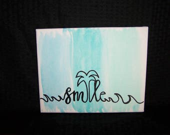 Hand Painted Smile Canvas Beach Theme 8x10