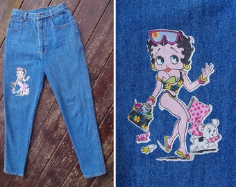 Sexy BETTY Boop 1980's 90's Vintage High Waist Cotton Skinny Jeans with Tapered Ankles // waist 25 26 // size XS Small // by JAMESWAN