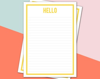 A4 Printable stationery - A4 YELLOW  'Hello' - letterhead, letter writing sheet (LH007)