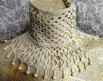 Ivory Cream Steampunk Victorian Costume Wedding Lace Beaded Crochet Choker