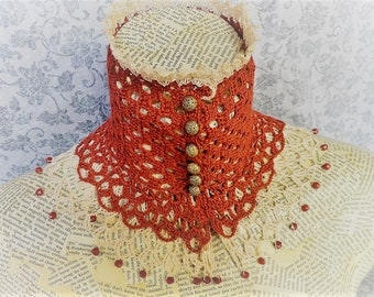 Ivory Cream Russet Steampunk Victorian Costume Wedding Lace Beaded Crochet Choker