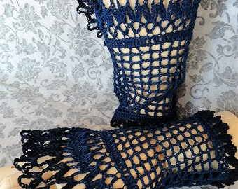 Black Navy Blue Two Toned Victorian Mourning Steampunk Gothic Noir Crochet Lace Wrist Cuffs