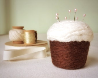 Pincushion - Cupcake, Felted Wool, Chocolate and Vanilla