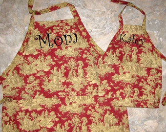 Adult and Child Apron Set.  Includes Machine Embroidered Personalization.
