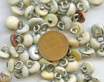 Victorian Shoe or Boot Buttons Lot of (52) WHITE Vintage  Antique Edwardian 3773