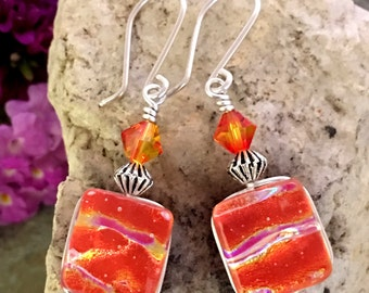 Orange Glow Dichroic Glass Earrings with Flowers .. Wire Wrapped Sterling Silver Hooks