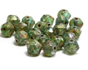 Czech Picass Beads - English Cut Beads - 8mm English Cut - Czech Glass Beads - Faceted Round - Round Beads - Accent Beads  - 20pcs (2716)