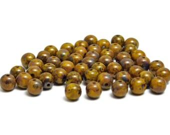 Round Beads - 6mm Round - Czech Glass Beads - Czech Round - Czech Picasso Beads - Bronze Picasso - 50pcs (5068)