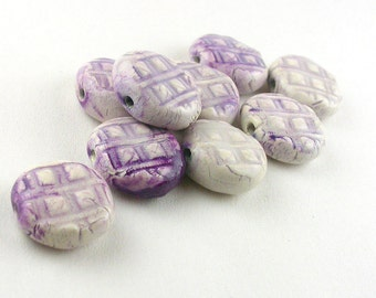 Purple Pattern Porcelain Beads, Purple Porcelain Round Tablet Beads, Purple Porcelain Tablet Beads, Purple Tablet Beads, Square pattern bead