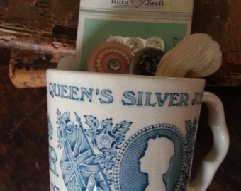 Queen's Silver Jubilee 1977 Cup Masons ... Filled with Vintage Sewing and Buttons.