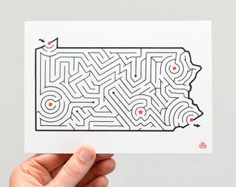 "PENNSYLVANIA Maze 5x7"" Postcard 