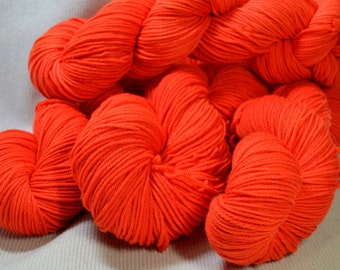 SALE New Color Carousel DK Merino Superwash by Yarn Hollow in Nuclear Orange Semi Solid 4 ounces 280 yards