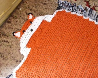 Fox Blanket, Hooded Fox Blanket, Crochet Fox Blanket, CHILD Size, Ready to Ship, Blanket, Afghan, Throw, Hooded animal Blanket,Thick Warm