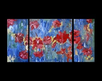 Abstract Copper Art for Sale, Triptych, Floral, Metal, Modern, HUGE 24 x 48, Etsy Paintings, Karina Keri-Matuszak, Original, Three