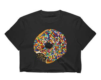 Crop Top Shirt Womens - Sprinkled Donut cookies candy chocolate oreos candybar bagels crackers junk food pizza nachos hamburgers fries