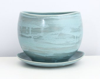 Porcelain Turquoise Blue Grey Planter with Drain Hole and Catch Plate - Handmade Pottery Planter - Ceramic Planter