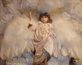 Angel Christmas Ornament Large*Our littest angel lights the way*Dazzling star*Feather wings*Gorgeous*Large
