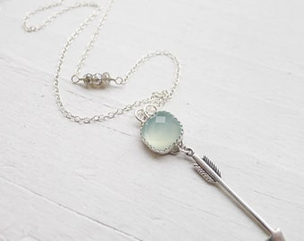 Arrow Necklace Aqua Chalcedony Faceted Gemstone with Sterling Silver Arrow and Labradorite Accents